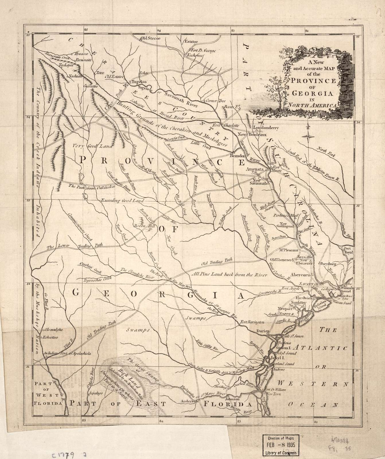 A new and accurate map of the province of Georgia in North America.