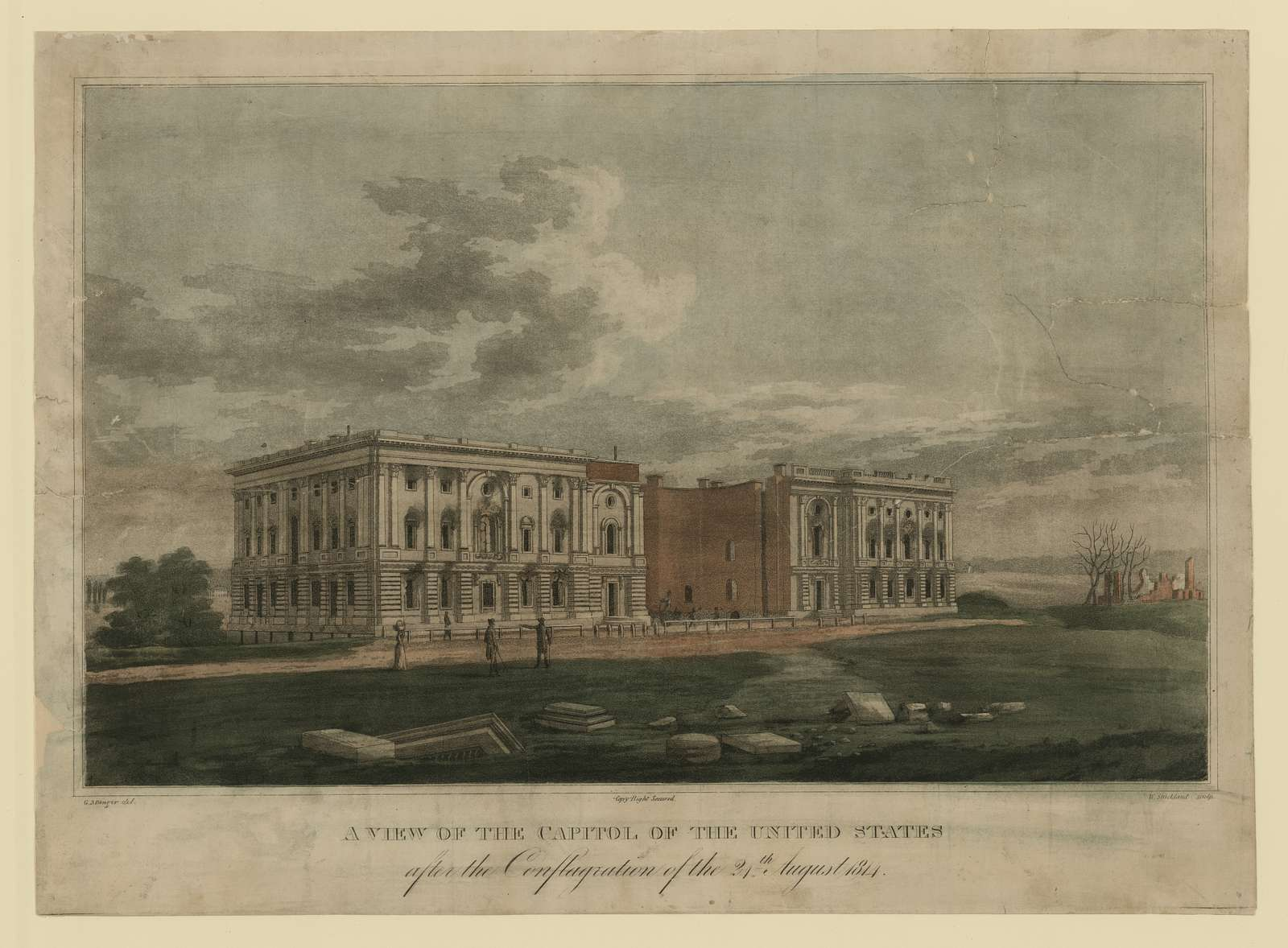 A view of the Capitol after the conflagration of the 24th August 1814 / G. Munger del. ; W. Strickland sculp.