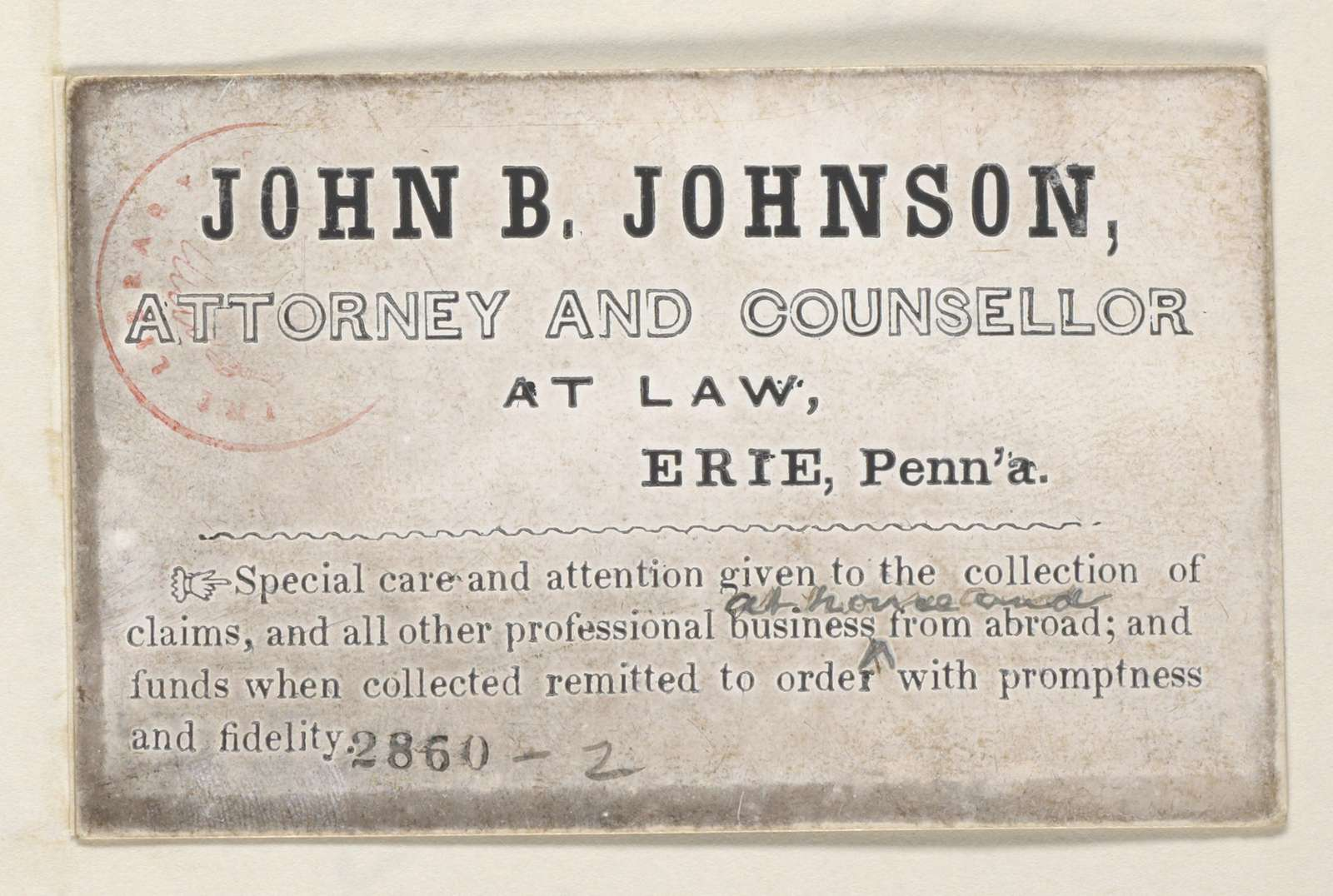 Abraham Lincoln papers: Series 1. General Correspondence. 1833-1916: John B. Johnson, (Calling card)