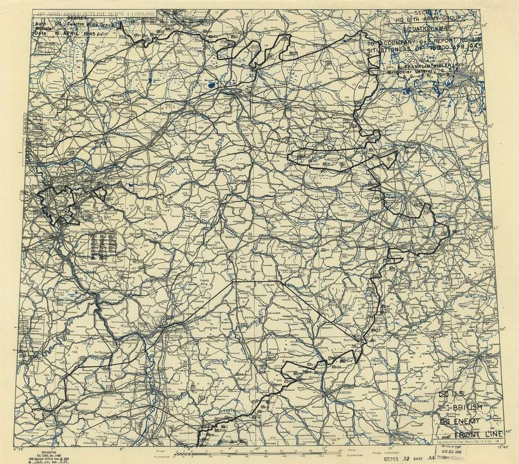 [April 16, 1945], HQ Twelfth Army Group situation map.