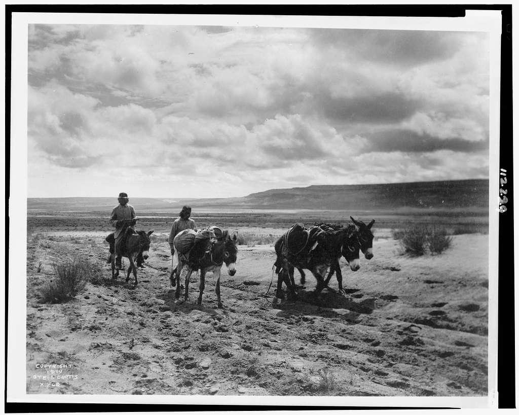 Burros and Moki men on the road