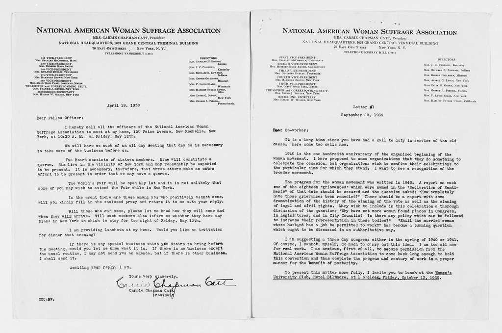 Carrie Chapman Catt Papers: General Correspondence, circa 1890-1947; Wilson, Justina Leavitt; 1918-1939
