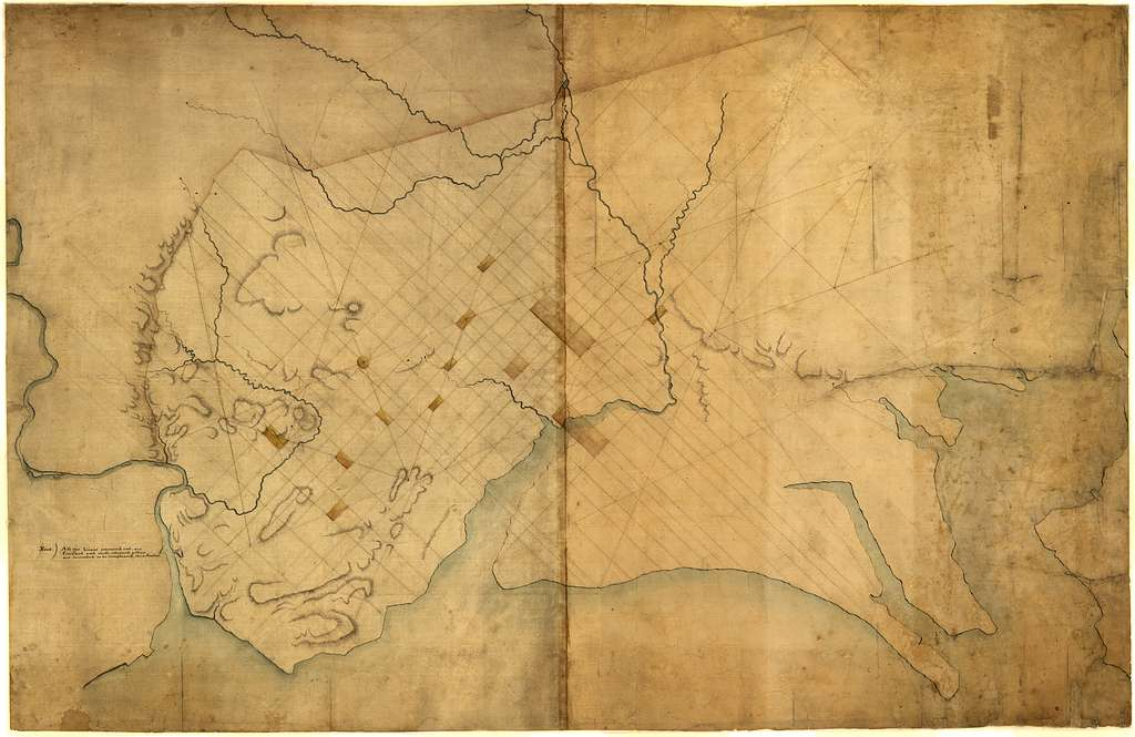 [Dotted line map of Washington, D.C., 1791, before Aug. 19th].