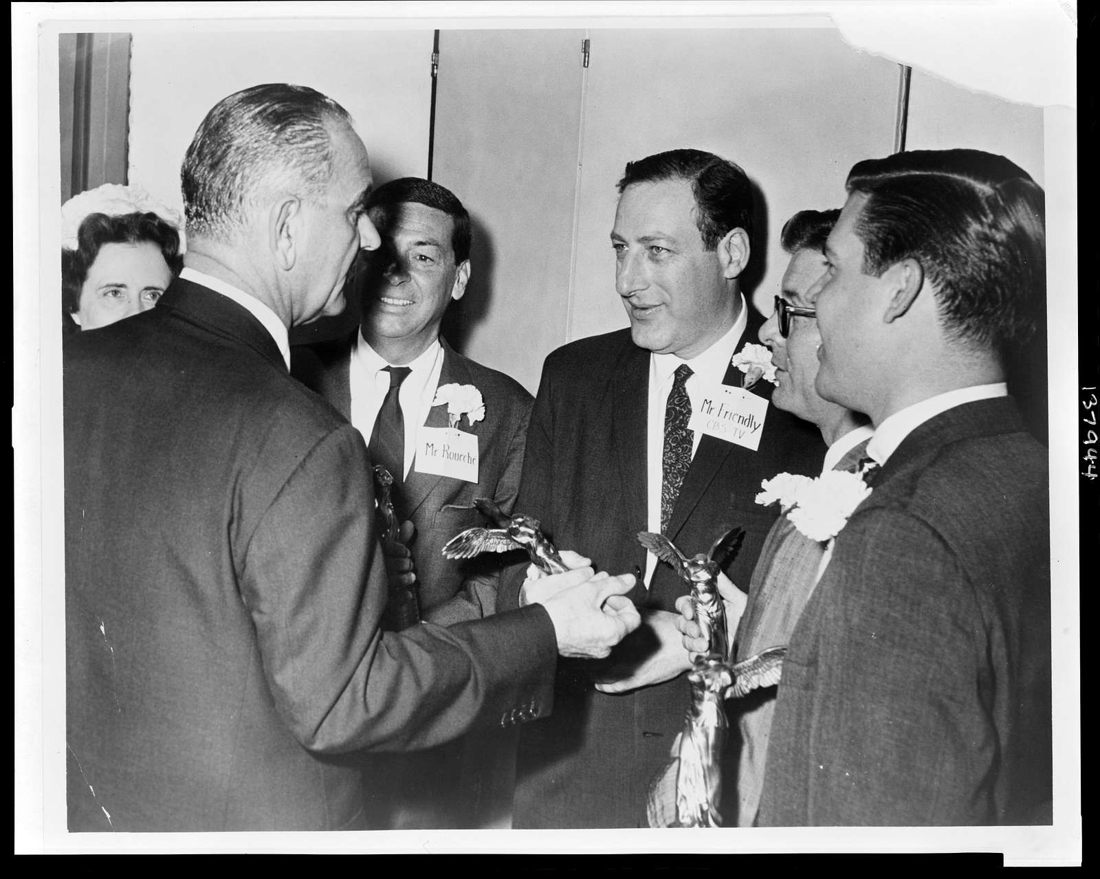 [Fred Friendly, talking with then Vice President Lyndon Johnson, as fellow Lasker awardees and Mary Lasker look on] / World Telegram & Sun photograph by Phil Stanziola.