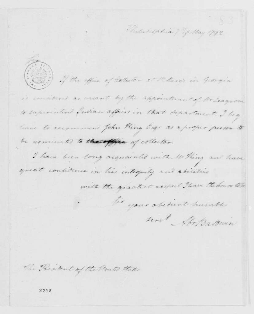 George Washington Papers, Series 7, Applications for Office, 1789-1796: John King
