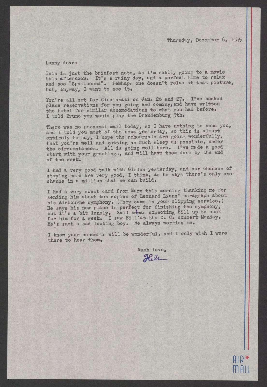 Helen Coates to Leonard Bernstein, December 6, 1945