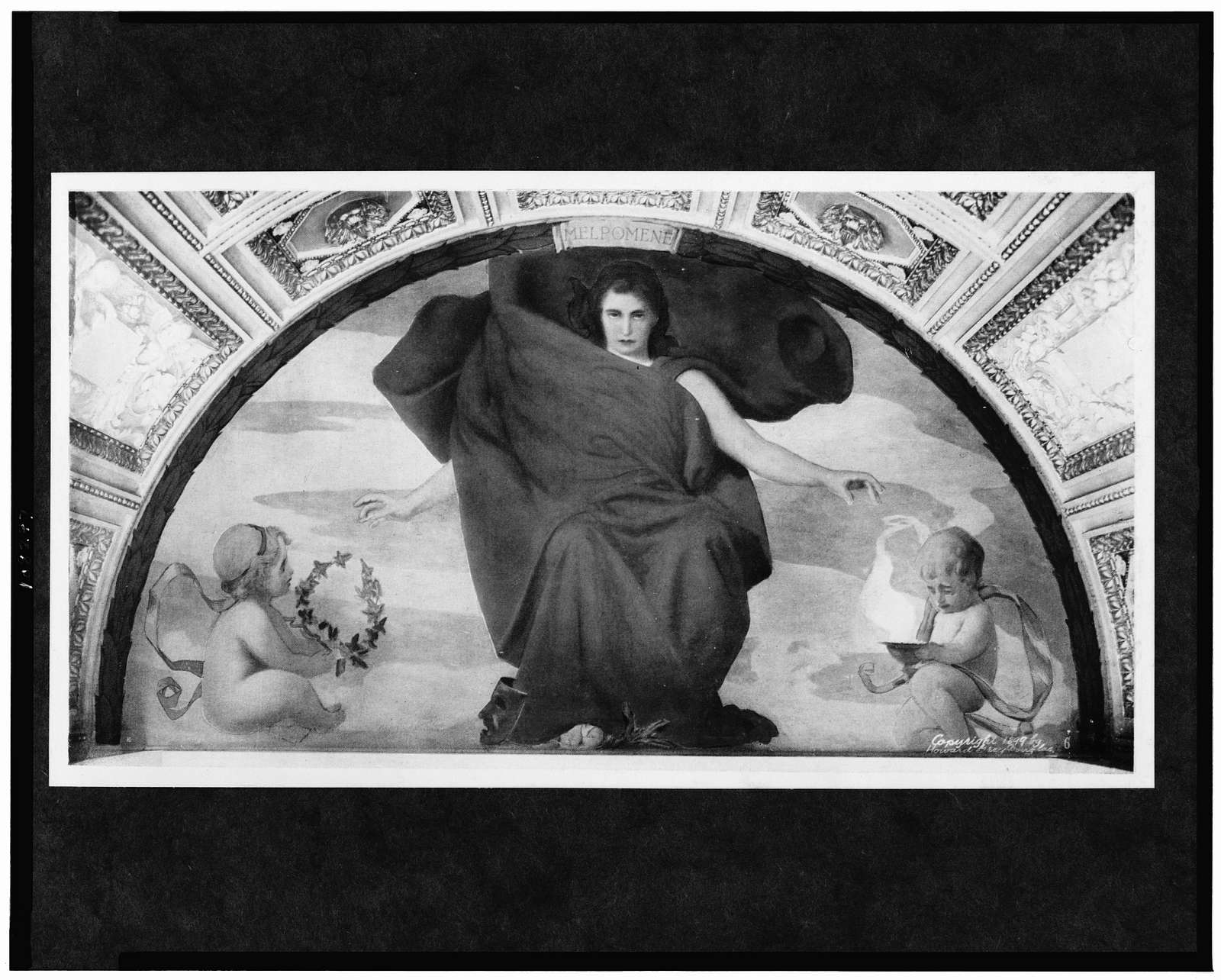 [Mural, Melpomene, woman draped in red cloth, with two cherubs at her sides, in Library of Congress]