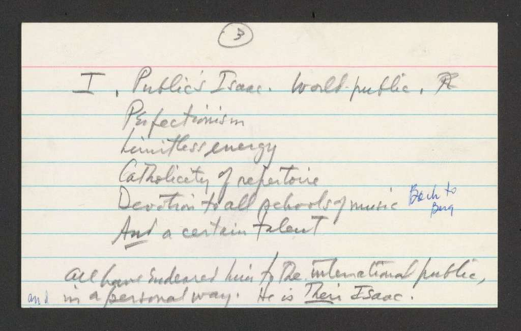 notes for a speech given at a dinner for Isaac Stern, Hotel Pierre, New York City, 1960 Oct. 23
