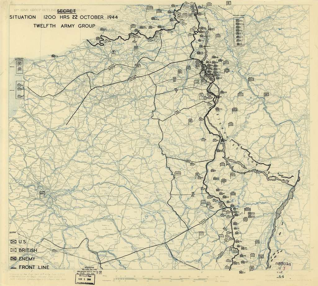 [October 22, 1944], HQ Twelfth Army Group situation map.