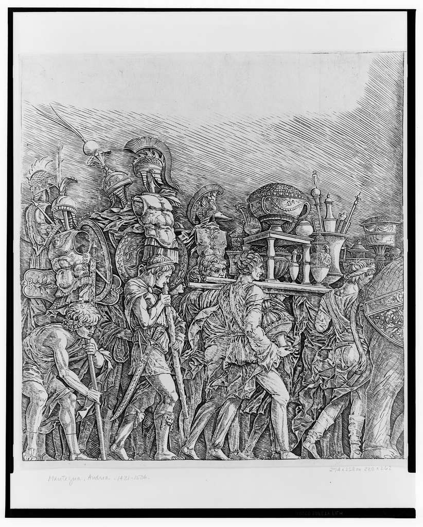 [Roman soldiers bearing the trophies in triumph]