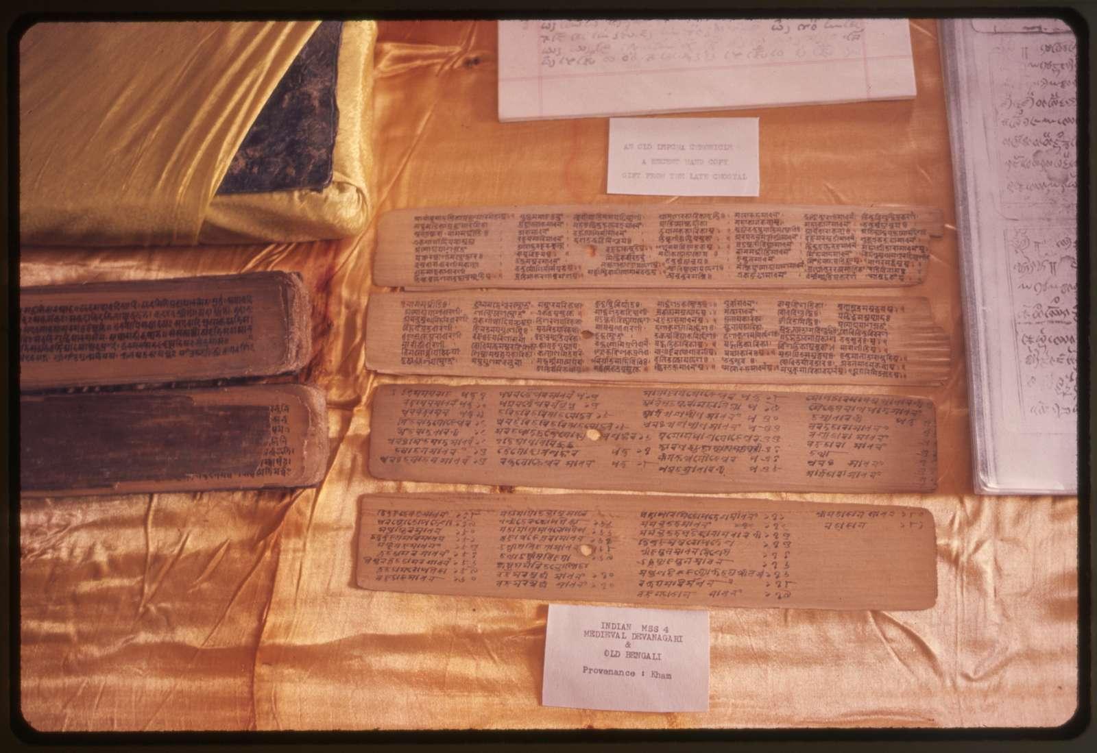 Sikkim, Gangtok, early Buddhist scrip[t] written on palm leave[s]