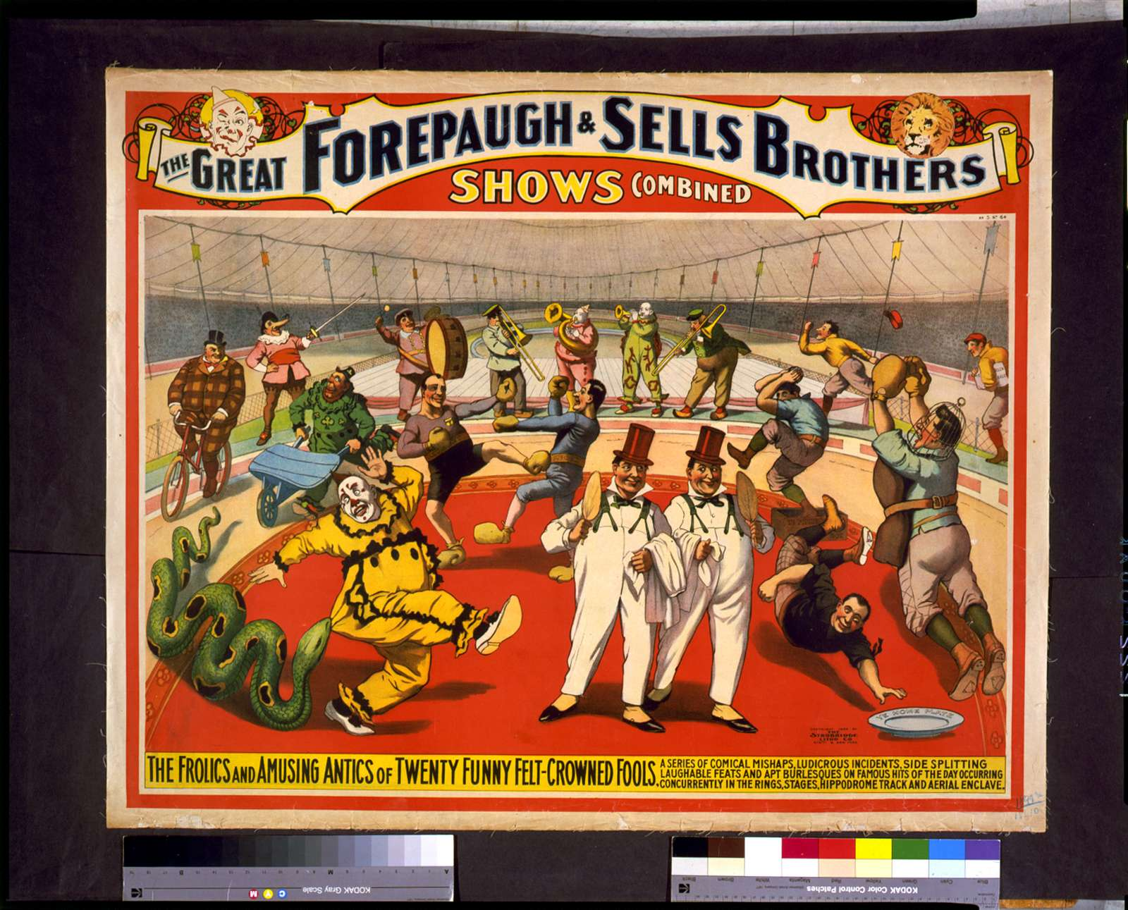 The Great Forepaugh & Sells Brothers shows combined. The frolics and amusing antics of twenty funny felt-crowned fools. ...