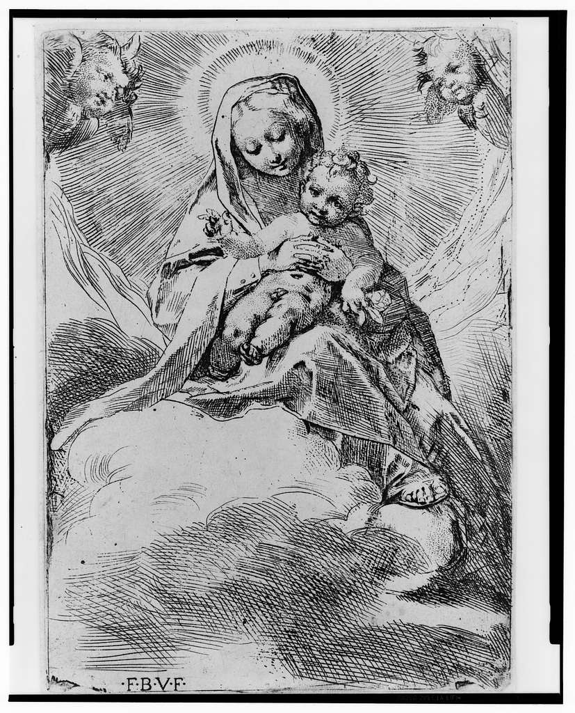 [The Virgin holding the child seated on a cloud]