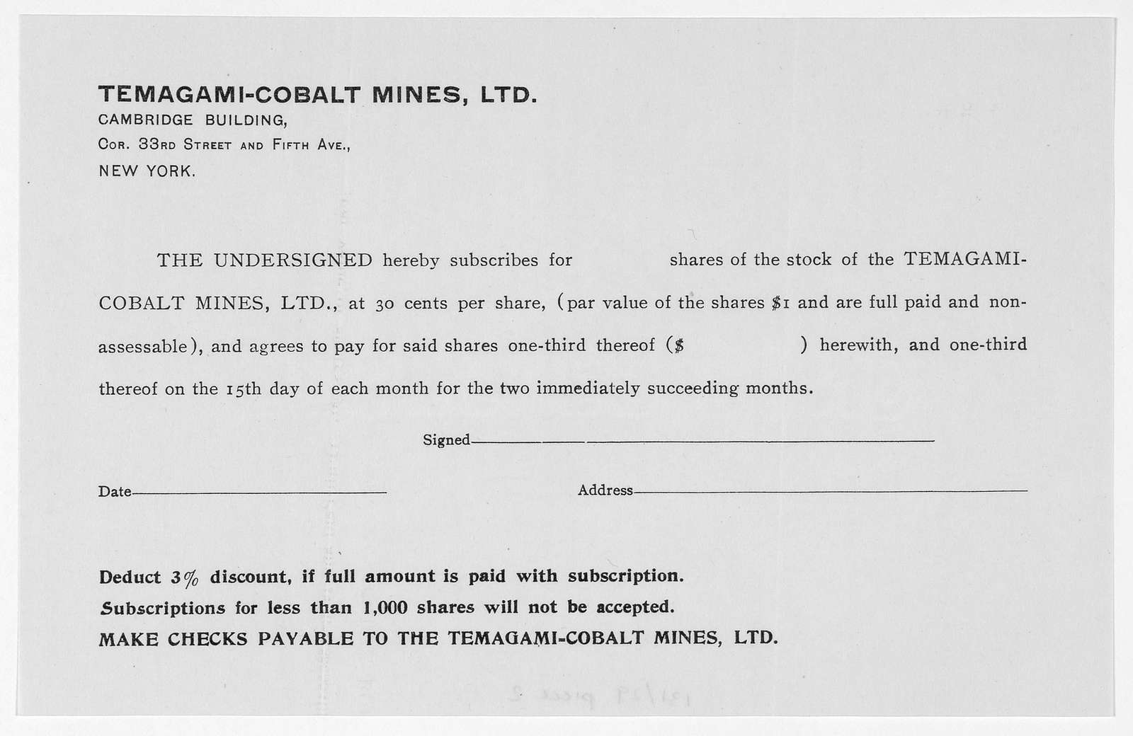 [A letter from Woodford W. Brooks dated New York August 1908 to Julian Hawthorne, regarding the Cobalt Silver Mines.] [New York, 1908.].