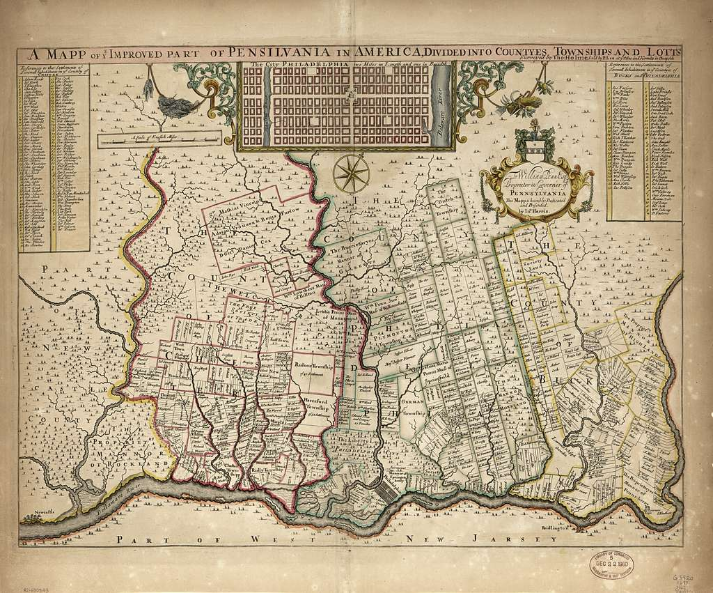 A mapp of ye improved part of Pensilvania in America, divided into countyes, townships, and lotts /