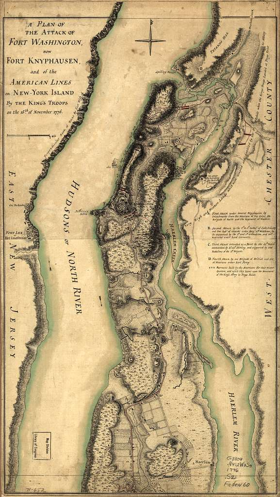 A plan of the attack of Fort Washington, now Fort Knyphausen, and of the American lines on New-York Island by the King's troops, on the 16th of November 1776.