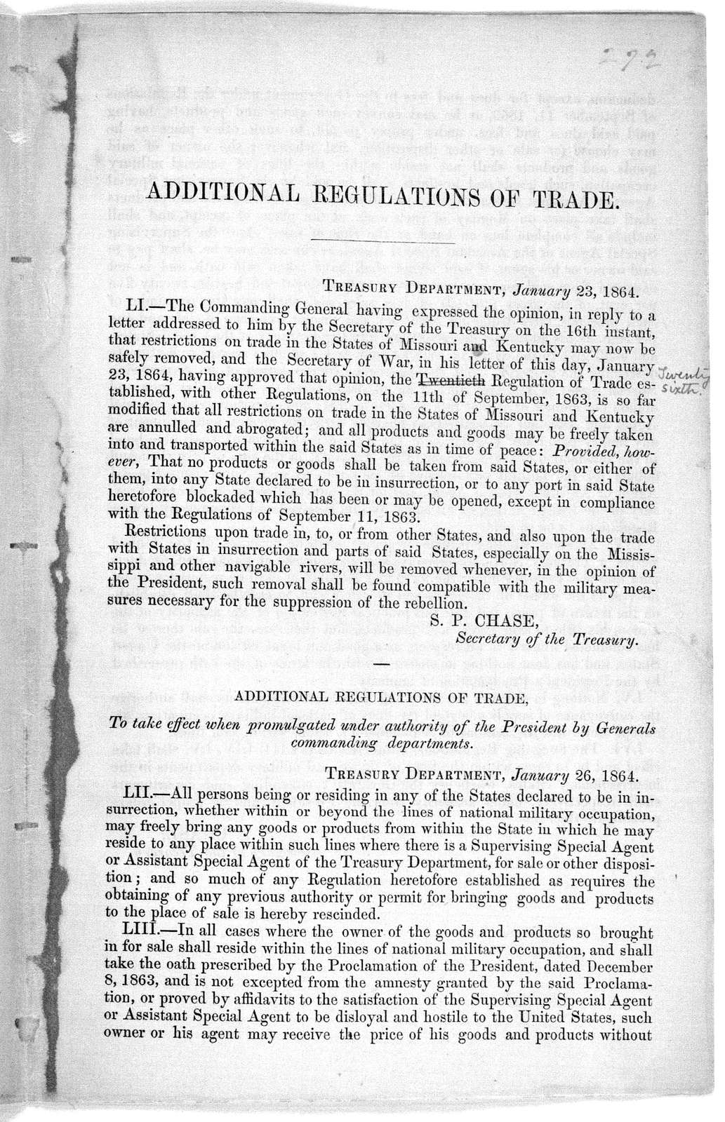 Additional regulations concerning commercial intercourse with and in states declared in insurrection. January 26, 1864. [Washington, D. C. 1854].