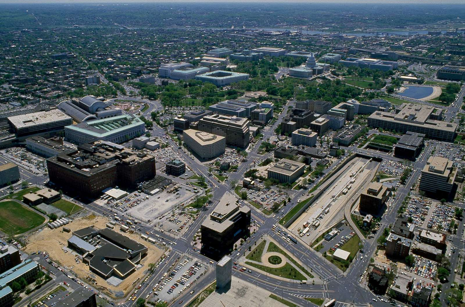 Aerial view of Washington, D.C. showing Capitol Hill and Union Station area