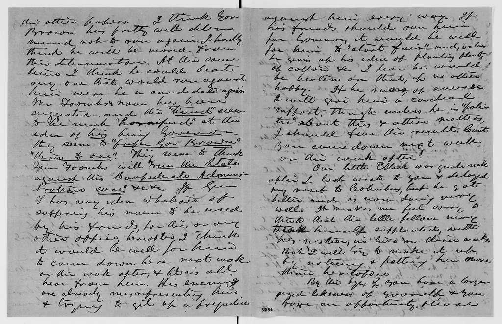Alexander Hamilton Stephens Papers: General Correspondence, 1784-1886; 1863, Feb. 28-July 17
