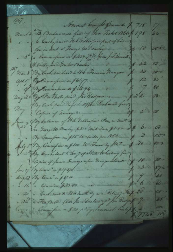 """Alfred Beckley's Private Memorandum Book, 1856-1865, including """"Statements of Agency for the Mssrs Francis and John A Granger"""""""