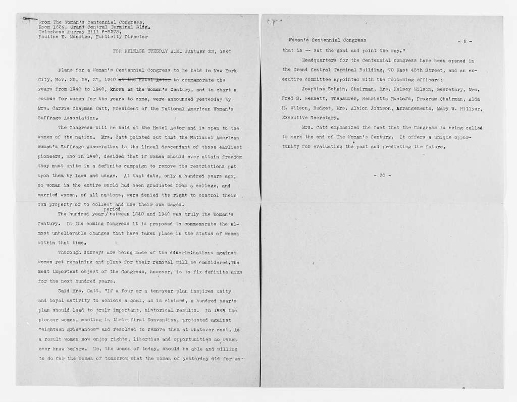Carrie Chapman Catt Papers: Subject File, 1848-1950; Woman's Centennial Congress; Declaration of purpose