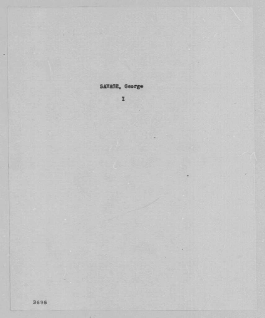 George Washington Papers, Series 7, Applications for Office, 1789-1796: George Savage