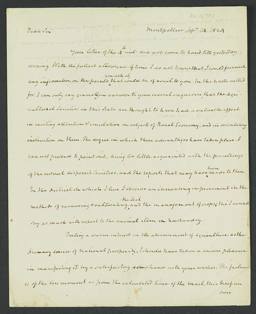 James Madison Papers: Series 7, Addenda, 1744-1845; 1979-1985 Addition; Part A, original documents; Correspondence (some with transcripts), 1780-1834