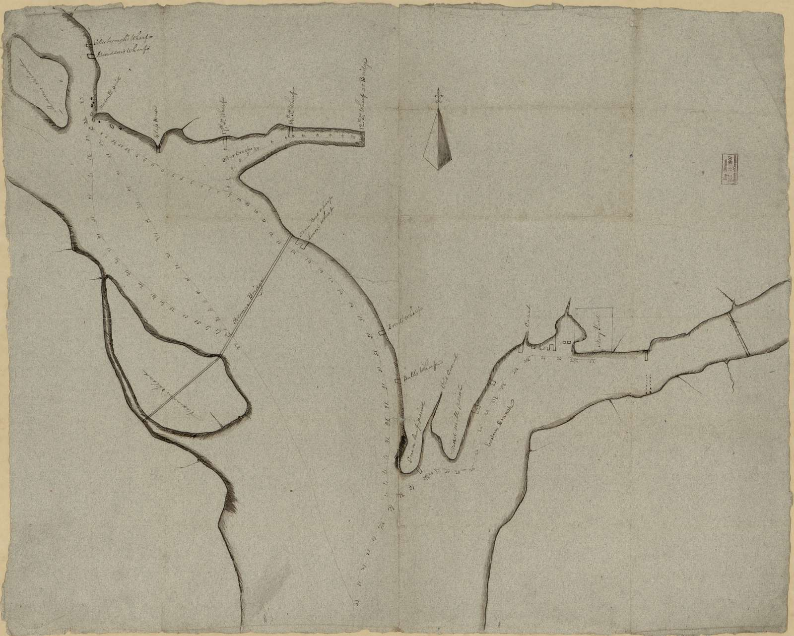 [Manuscript sketch of the Potomac River and Eastern Branch bounding the city of Washington].
