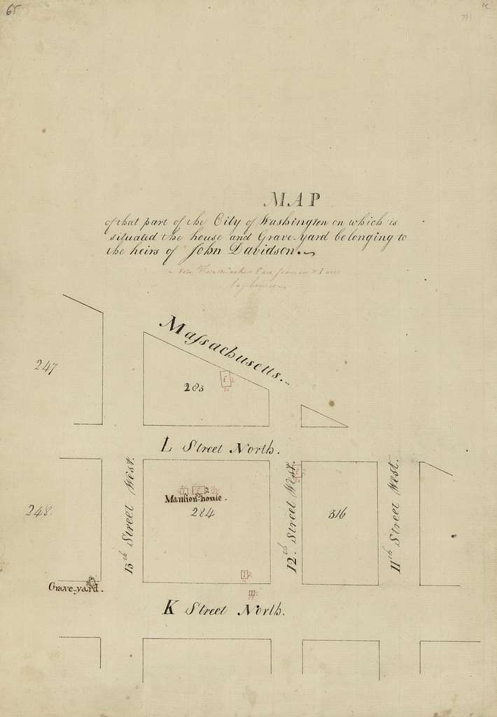 Map of that part of the city of Washington on which is situated the house and grave-yard belonging to the heirs of John Davidson.