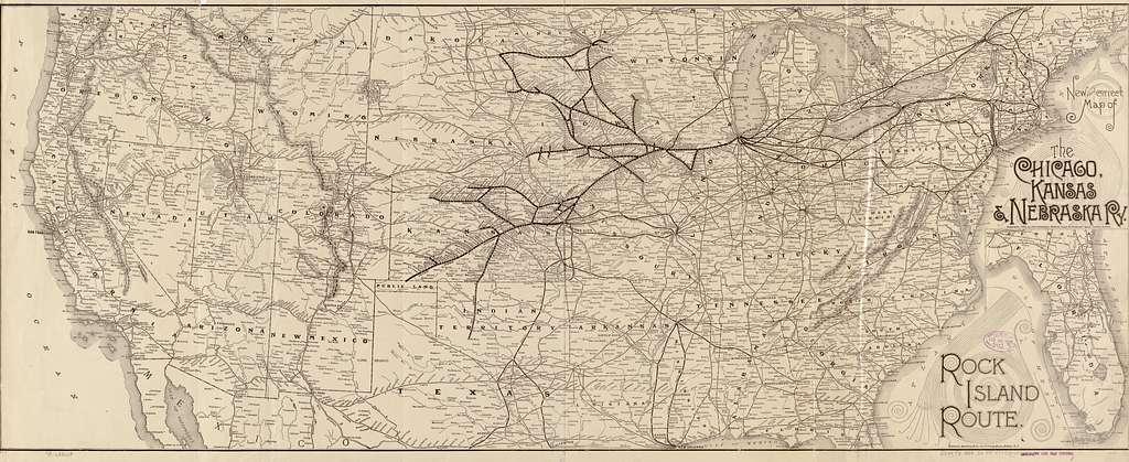 New and correct map of the Chicago, Kansas & Nebraska Ry. Rock Island Route.