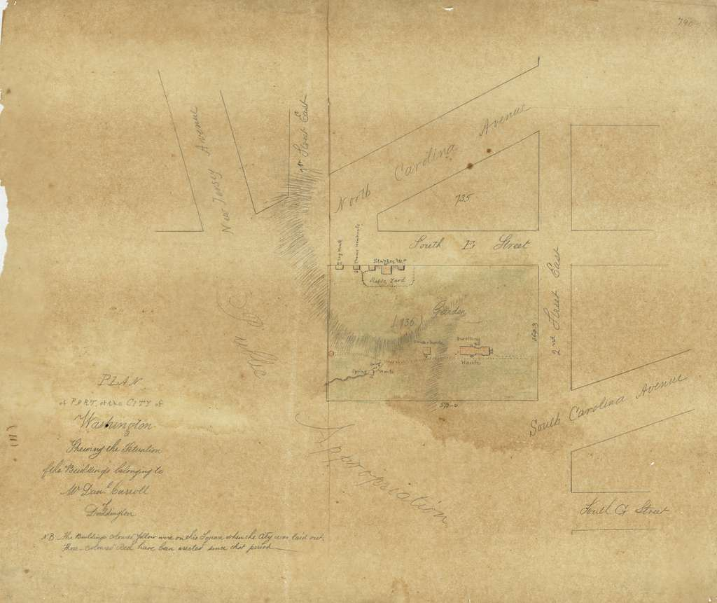Plan of part of the city of Washington shewing the situation of the buildings belonging to Mr. Dan'l Carroll of Duddington.