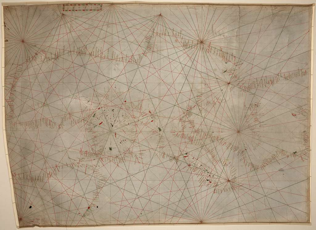[Portolan chart of the Mediterranean Sea ca. 1320-1350 : manuscript chart of the Mediterranean and Black seas on vellum].