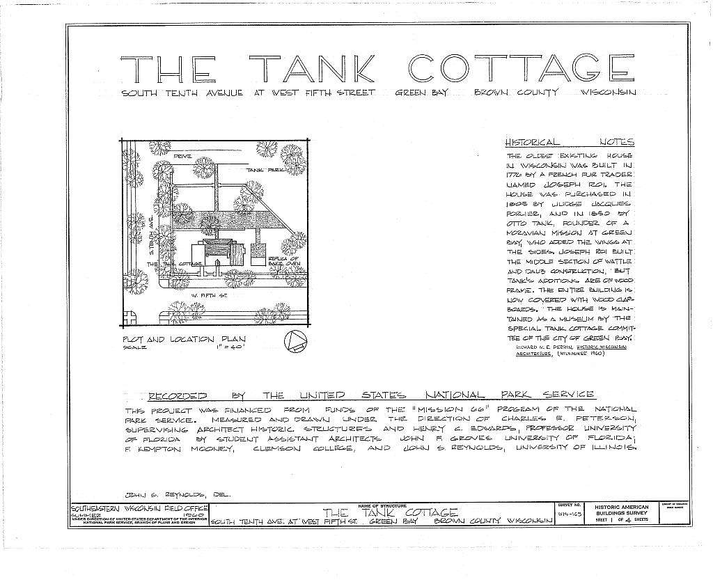 Tank Cottage, South Tenth Avenue, Green Bay, Brown County, WI