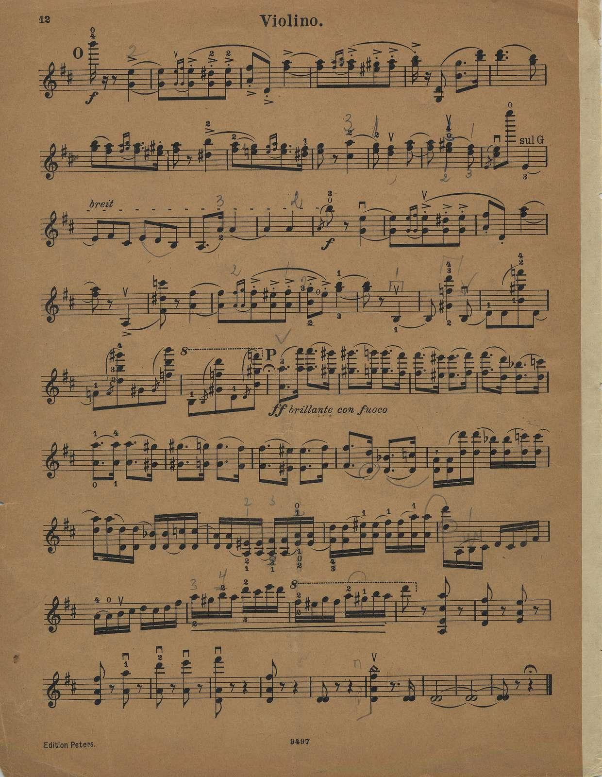 Wieniawski, Henri. Concerto for Violin and Orchestra, No. 2, Op. 22, in D minor