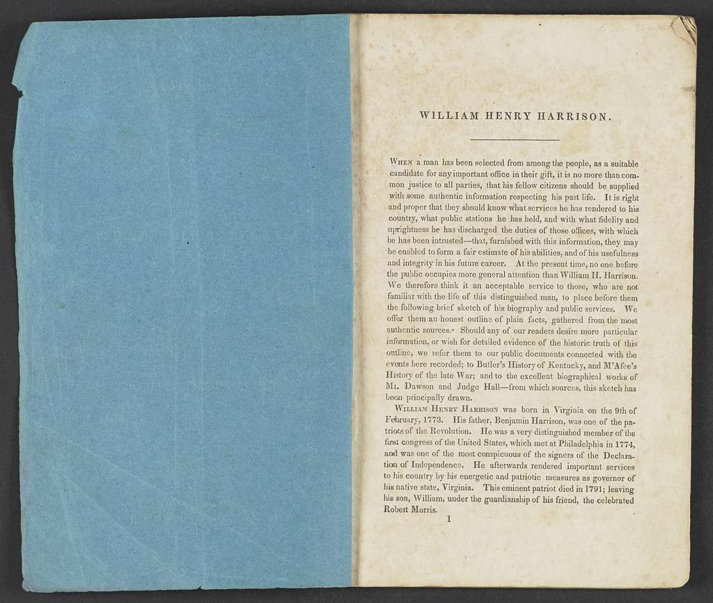 William Henry Harrison Papers: Series 4, Printed Matter, 1815-1922; Subseries B, Pamphlets Concerning Harrison; 1836-1839 , 4 items