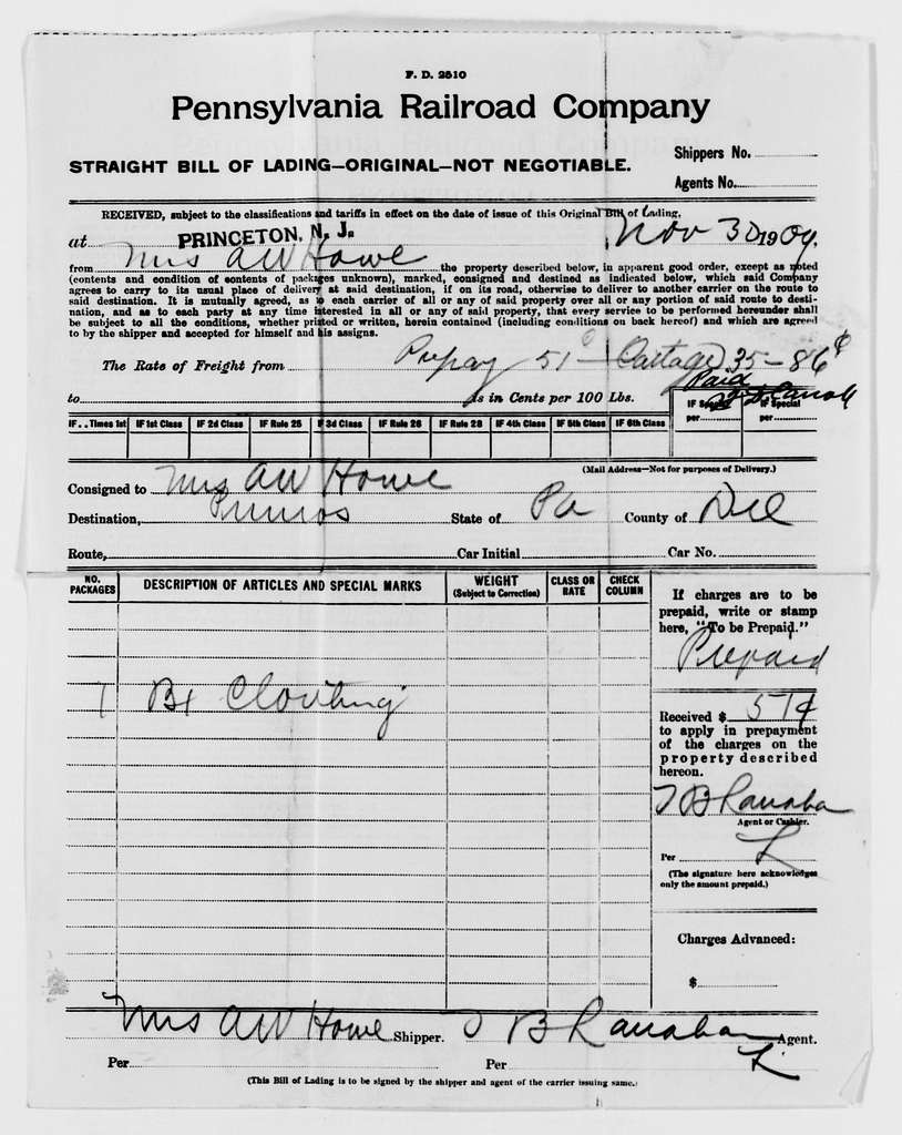 Woodrow Wilson Papers: Series 8: Financial Material, 1864-1944; Subseries F: Bills and Receipts, 1882-1924; Bills and Receipts; 1906-1913; A-G
