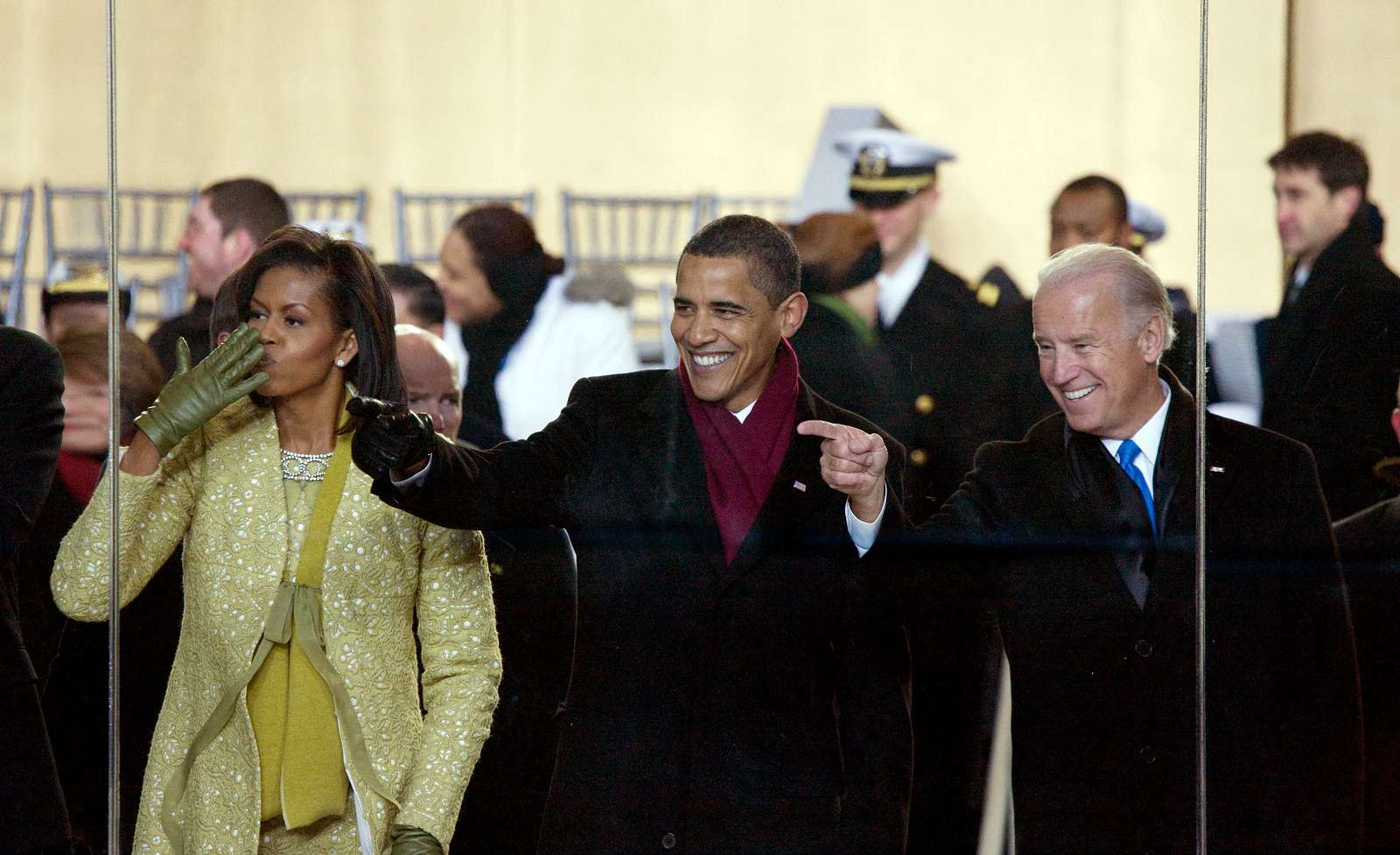 2009 Inaugural Parade. Michelle and Barack Obama join Joe Biden watch the parade from the viewing stand in front of the White House, Washington, D.C.