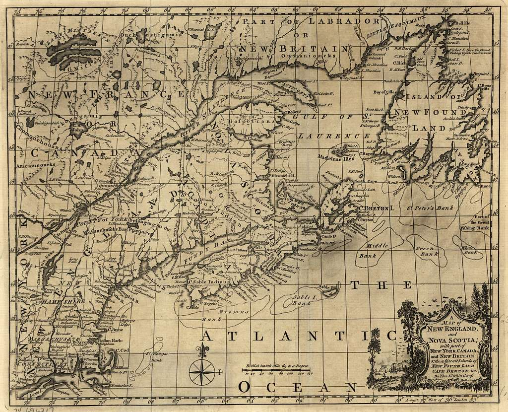 A map of New England, and Nova Scotia; with part of New York, Canada, and New Britain & the adjacent islands of New Found Land, Cape Breton &c.