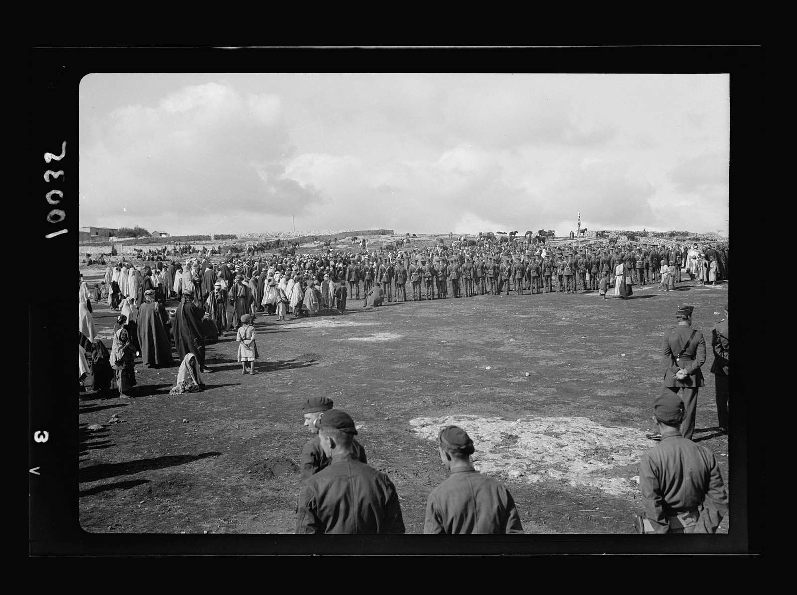 Arab demonstration at Yatta. View of the general gathering on the hill-side