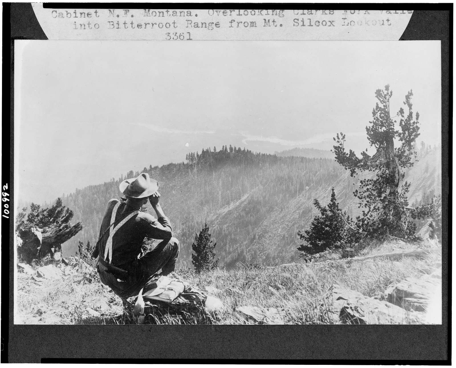[Cabinet National Forest, Montana. Overlooking Clarks Fork Valley into Bitterroot Range from Mt. Silcox Lookout]