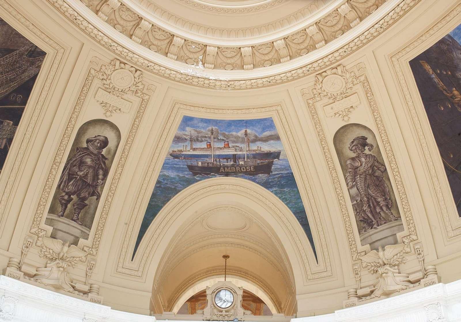 "Fresco painting ""SS Washington Passing Ambrose Lightship,"" ""Explorer Hudson,"" and ""Explorer Block"" located in rotunda of Alexander Hamilton U.S. Custom House, New York, New York"