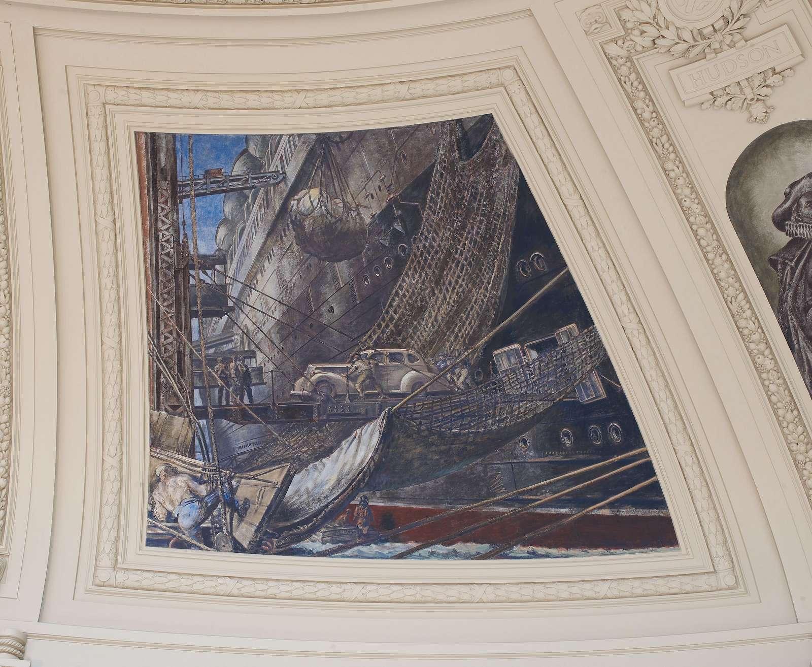 "Fresco painting ""Unloading Cargo"" located in rotunda of Alexander Hamilton U.S. Custom House, New York, New York"