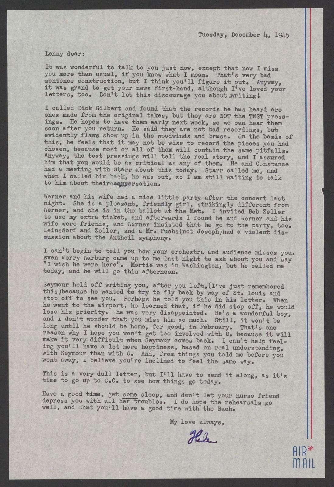 Helen Coates to Leonard Bernstein, December 4, 1945