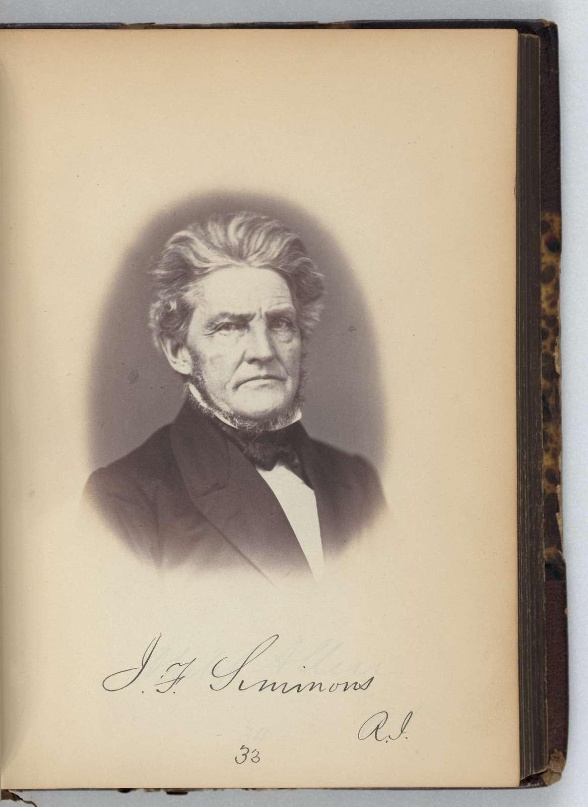 [James F. Simmons, Senator from Rhode Island, Thirty-fifth Congress, half-length portrait]