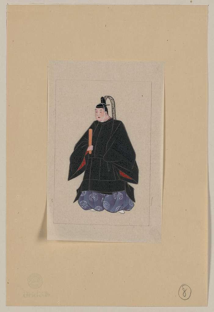 [Japanese man, full-length, standing, facing left, wearing minister's robe over kimono]