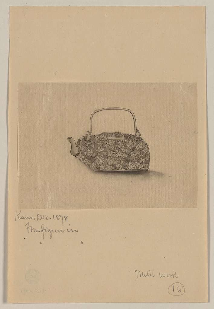 [Metal teapot with floral designs]