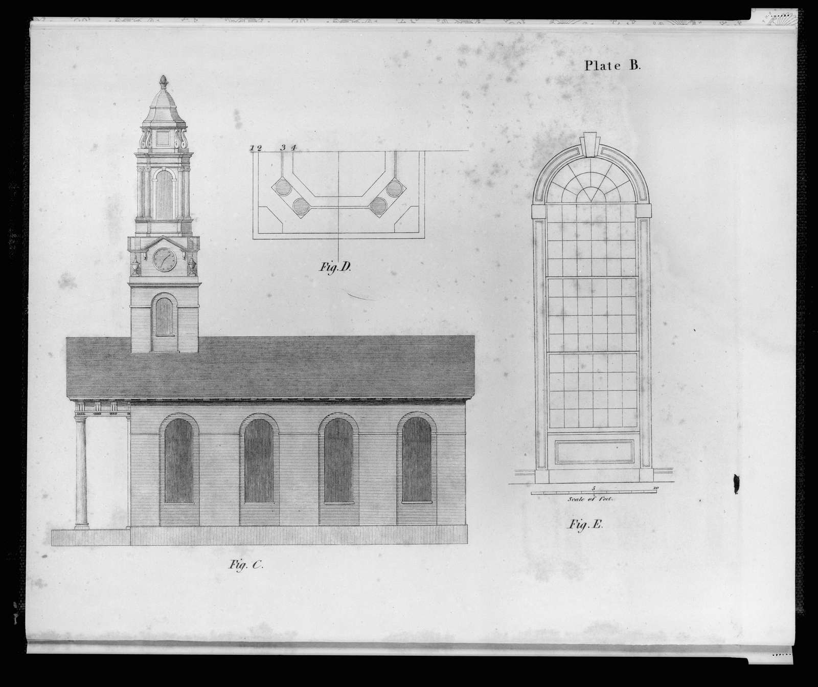 "[Plan and elevations of a church. Side elevation, plan of cupola, ""size and shape of the glass"" (i.e., interior window elevation)]"