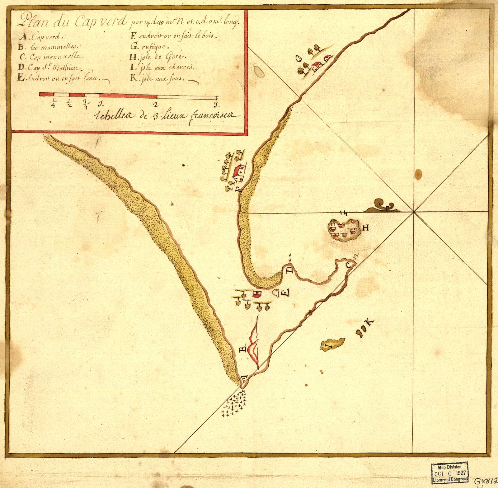 Plan du Cap Verd par 14 d. 40 m. N. et 0 d. 0 m. long.