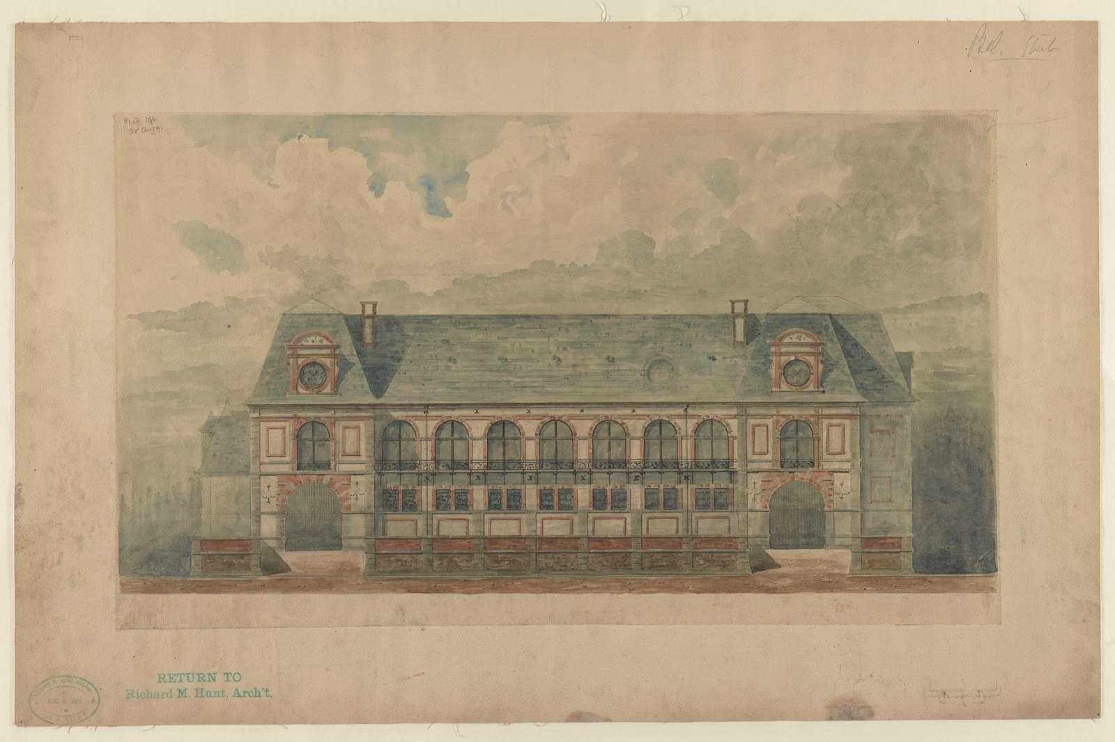 [Stable at Belcourt, summer estate for Oliver H.P. Belmont, Newport, R.I.] / R.M. Hunt archt.