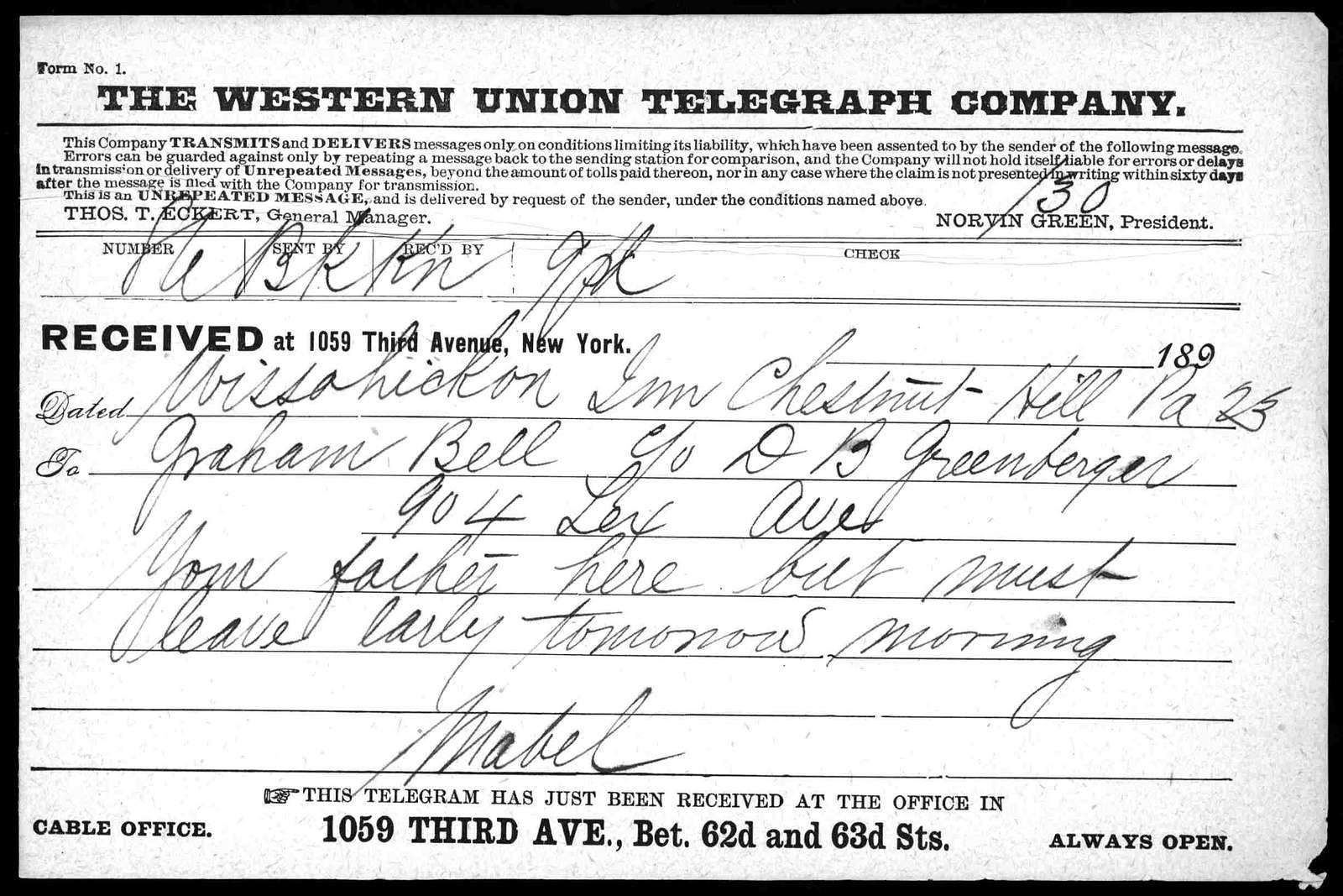 Telegram from Mabel Hubbard Bell to Alexander Graham Bell, undated